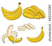 vector fresh bananas. peeled... | Shutterstock .eps vector #682222282