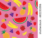 fruits on pink background...   Shutterstock .eps vector #682231006