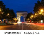 the triumphal arch in evening ... | Shutterstock . vector #682236718