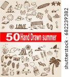 summer hand drawn set  summer... | Shutterstock .eps vector #682239382