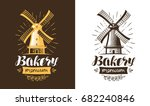mill  windmill logo or label.... | Shutterstock .eps vector #682240846