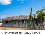 Small photo of Traditional guadua wood houses at La Guajira, Colombia