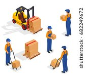 forklift truck with delivery... | Shutterstock .eps vector #682249672