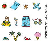 hand drawn vector set  with... | Shutterstock .eps vector #682250656