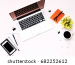 workspace with laptop keyboard  ... | Shutterstock . vector #682252612