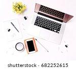 workspace with laptop keyboard  ... | Shutterstock . vector #682252615