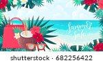 coconut cocktail  sunglasses ... | Shutterstock .eps vector #682256422