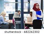 arabian businesswoman in office ... | Shutterstock . vector #682262302