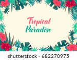 palm leaves  monstera  hibiscus ... | Shutterstock .eps vector #682270975