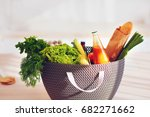 shopping bag full of fresh food ... | Shutterstock . vector #682271662