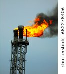 flare boom nozzle and fire on... | Shutterstock . vector #682278406