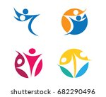 fun people healthy life logo... | Shutterstock .eps vector #682290496