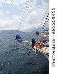 gulet yachts at anchor near... | Shutterstock . vector #682301455