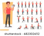 health men are exercising... | Shutterstock .eps vector #682302652