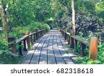 a wood pathway in forest. sunny ... | Shutterstock . vector #682318618