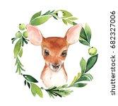 baby deer and floral frame.... | Shutterstock . vector #682327006