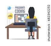 web developer working on... | Shutterstock .eps vector #682342252