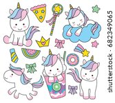 cute baby unicorn vector... | Shutterstock .eps vector #682349065