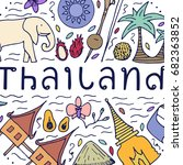 culture of thailand. hand drawn ... | Shutterstock . vector #682363852