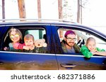 family in a car | Shutterstock . vector #682371886