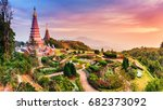 sunset landscape two pagoda in...   Shutterstock . vector #682373092