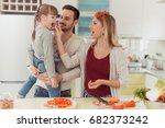 cute little girl and her... | Shutterstock . vector #682373242