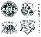 set of vintage casino logo... | Shutterstock .eps vector #682382512