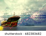 double exposure of stocks... | Shutterstock . vector #682383682