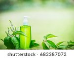 green cosmetic product bottle... | Shutterstock . vector #682387072
