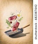 flying raw beef meat steaks ...
