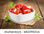 fresh made red pepper  stuffed... | Shutterstock . vector #682390216
