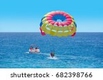 colorful parasail wing pulled... | Shutterstock . vector #682398766