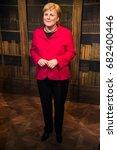 Small photo of Prague, Czech republic, July 22, 2017: Angela Merkel in Grevin museum of the wax figures in Prague.