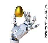 robot hand holding golden egg... | Shutterstock . vector #682402096