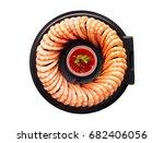 top view of delicious shrimps... | Shutterstock . vector #682406056
