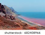 red beach on the iranian island ... | Shutterstock . vector #682408966