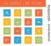 set of 16 relax outline icons... | Shutterstock .eps vector #682409836