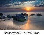 sunrise on the beach    Shutterstock . vector #682426306