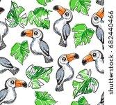 sketch toucan pattern  hand... | Shutterstock .eps vector #682440466