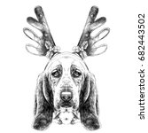 the dog's head in new year's... | Shutterstock .eps vector #682443502