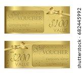 elegant shiny gift voucher with ... | Shutterstock .eps vector #682445992
