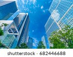 high rise buildings and blue... | Shutterstock . vector #682446688
