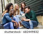 multi ethnic group of young... | Shutterstock . vector #682449832