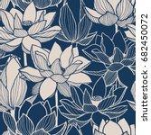 seamless vector floral lotus... | Shutterstock .eps vector #682450072