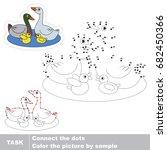 funny duck family. dot to dot... | Shutterstock .eps vector #682450366