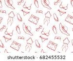 hand drawn vector seamless...   Shutterstock .eps vector #682455532