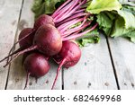 red beetroot with herbage green ... | Shutterstock . vector #682469968