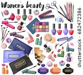 a set of different cosmetics on ... | Shutterstock .eps vector #682472386