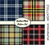 vector knitted plaid pattern set | Shutterstock .eps vector #682477312