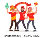 guys fans cheer for their... | Shutterstock .eps vector #682477822